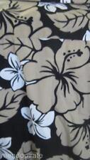 Black Tan White Hybiscus Hawaiian Shirt 2XL Bishop Street Made Hawaii preowned