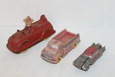 Lot of 3~VINTAGE~Rubber Cars~WALT DISNEY Sun Rubber PORKY~Fire Truck~AUBURN~Red
