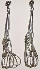 Cone 5 Strand Sterling Silver Bead Dangle Hook Earrings Vintage Antique Unique!