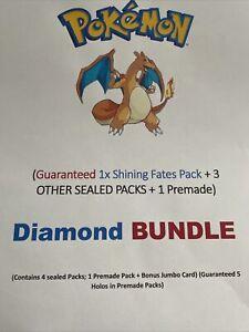 Pokemon Diamond Power Box; 4 Packs Guaranteed; 1x Shining fates + 5 Holo Premade