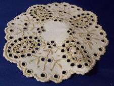 "Vintage Linen Doiley Embroidered Small 5"" inch Ecru Open Cutwork"