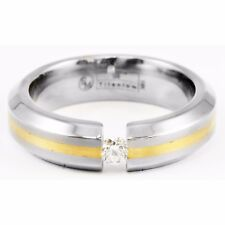 Edward Mirell 6mm Gray Titanium 18k Yellow Gold Band Tension Set Round Diamond