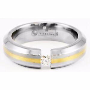 Edward Mirell 6mm Gray Titanium 18k Yellow Gold Band Tension Set Round Diamond