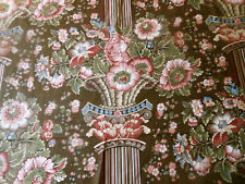 Vintage Pillar Column Floral Cotton Fabric ~ Brown Blue Olive Rose Burnt Red Bty
