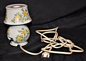 White Ceramic Floral Electric Floral Lamp