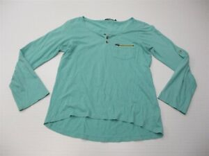 PRANA Women's Size XS Cotton Teal Green Long Sleeve Henley Pocket Top