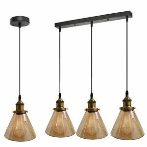 Vintage Metal Cage Industrial Glass Loft Ceiling Pendant Light 1/3 Cluster Lamps