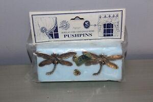 Vintage Pair of DragonFly Matching 24K Gold Finish Metal Push Pin Curtain