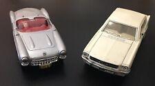 Maisto 57 Corvette Scale 1:39 & Kinsmart 1964 1/2 Ford Mustang Scale 1:36 EUC