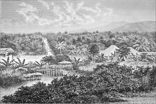 INDONESIA - TELUK-BETUNG before the TSUNAMI of the KRAKATOA -Engraving from 19th