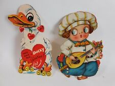 2 Large Antique Valentines Duck w/ Moving Head & Boy w/Feet that Move 7 3/4""