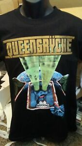 QUEENSRYCHE 'The Warning' DOUBLE-SIDED MENS BLACK T-SHIRT - SIZE MEDIUM - MINT