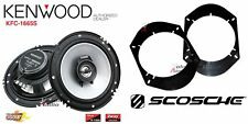 Kenwood KFC-1665S 6.5 Speakers + 1 Pair Front / Rear Adapters For Ford