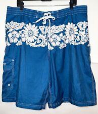 "SPEEDO Blue & White Mesh Lined Thigh Pocket Hawaiian Swim Board Shorts 10"" SZ XL"
