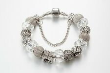 SILVER & DIAMANTE Complete European Charm Bracelet 20cm with Pandora gift bag
