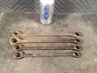 "4 Vintage PLOMB Plvmb  Box-End Wrenches 5/8 To 7/8"" Surface Rust Mixed Finish"