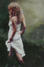 "WILLIAM OXER ORIGINAL CANVAS ""Summer Fields"" girl woman lady dress PAINTING"