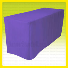 8 Fitted Tablecloth Table Cover Throw Wedding Banquet Trade Show Purple