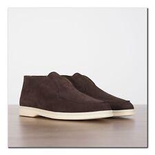 LORO PIANA 995$ Women's Open Walk Desert Boot In Chocolate Suede Calfskin