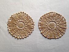 2 NAPPERONS ANCIENS EN DENTELLE FAITE À LA MAIN AU CROCHET VINTAGE EN TB ÉTAT !