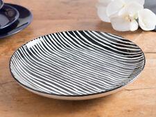 MIKASA COCOON Stoneware Black & White STRIPE DINNER PLATE