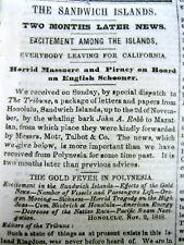 1849 newspaper HAWAIIANS join the CALIFORNIA GOLD RUSH - Travel from Hawaii toCA