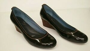 Rockport Women's Eselda Brown Patent Leather Wedge Shoes SIZE 8.5 W