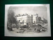 Gravure année 1860 une scène funéraire à Calcutta