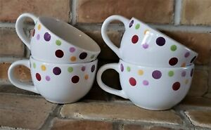 Pampered Chef Simple Additions Dots Oversize Coffee Mugs set of 4