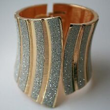 LADIES GOLD TONE AND SILVER GLITTER CUFF WOMEN'S FASHION STATEMENT BRACELET