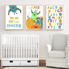 Personalised Name Nursery Art Print Set, Cute Monster Baby Boy Room Modern Decor