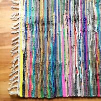 LARGE RAG RUG MULTI COLOUR STRIPED RECYCLED 100% COTTON MAT INDIAN HAND MADE