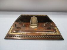 Antique Wooden Double Inkwell Writing Stand