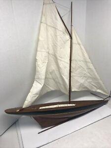 "LARGE Vintage hollow wood boat pond yacht Display Ship Sailboat model- 36""x41"""