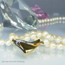 Perlenkette mit 97 Akoya Zuchtperlen 65 cm - Anhänger 585/- GG + 2 Diamanten