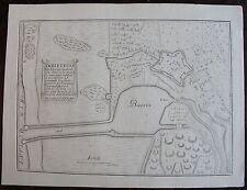 PLAN D'AMBLETEUSE, ville ancienne du Boulenois : gravure originale A Paris, 1693