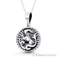 Capricorn Zodiac Sign Goat Solid .925 Sterling Silver Animal Pendant & Necklace