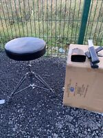 Free P&P. Drum Stool. Screw Shaft Height Adjustable. Sticks Cowbell Holder Inc