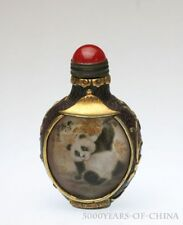 "2.98"" Old Handmade Painted ""Panda"" Inside Painted Carved Glass Snuff Bottle"