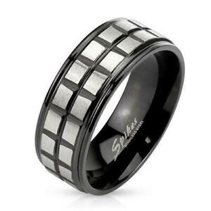 Square Groove Lines Brushed Center Stainless Steel Two Tone Band