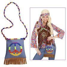 Hippie Handtasche mit Peace Zeichen und bunter Kordel