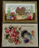 Lot of 2 Airbrushed Heavy Embossed~THANKSGIVING  Postcards~Turkeys~Fruits~s394