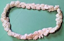 "Vintage Super Nice Looking Hawaiian LEI 38"" White Shells Nice Pattern & Quality"