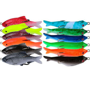 12PCS Soft Fishing Lures Topwater Frog Fish Bait Jig Lead Lure Treble Hooks Soft