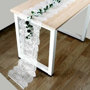 White Floral Table Runner Lace Cloth Rustic Boho Wedding Party Table Cover Decor