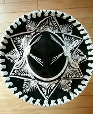 Vintage Pigalle Sombrero XXXXX Black with Silver Sequins Mexican Hat 16""