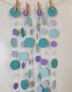 Handmade Frozen Princesses Purple & Turquoise Snowflake Paper Garland 10 foot