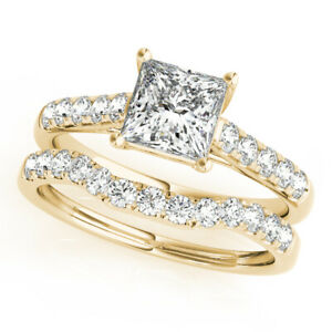 1.50 Ct Moissanite Princess Cut Yellow Gold Promise Ring 18K Solitaire Girl ring
