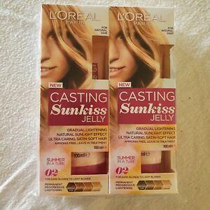 2 x L'Oreal Casting Sunkiss Jelly Permanent Lightening 02 Dark To Light Blonde