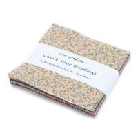 """COUNT YOUR BLESSINGS~CHRISTMAS~MODA FABRIC~42- 5"""" SQUARES- CHARM PACK~SCHMITZ~"""